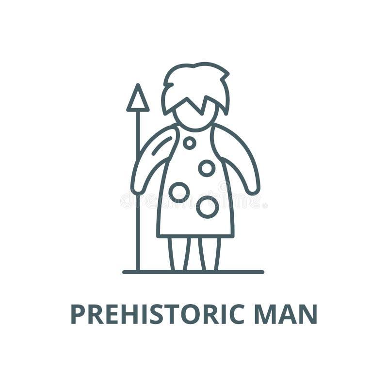 Prähistorische Mannvektorlinie Ikone, lineares Konzept, Entwurfszeichen, Symbol stock abbildung