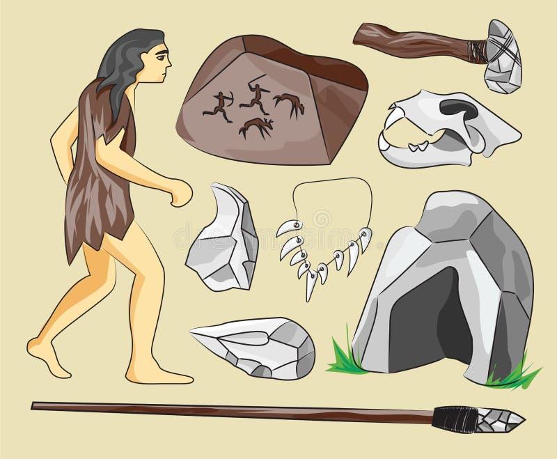 Prähistorische Steinzeitalterikonen eingestellt lizenzfreie abbildung