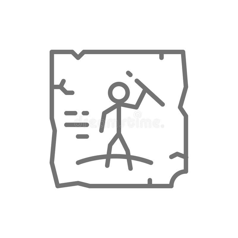 Prähistorische Zeichnungen, Höhlenmalerei, Felsenkunstlinie Ikone vektor abbildung