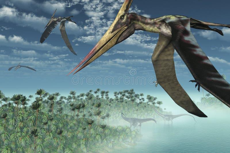 Prähistorischer Morgen - Flugwesen obenliegend lizenzfreie abbildung