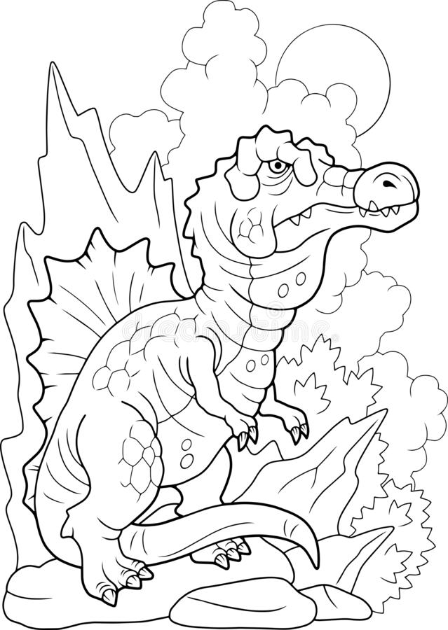 Prähistorisches Dinosaurier-Spinosaurier-Farbbuch lustig illustrieren stock abbildung