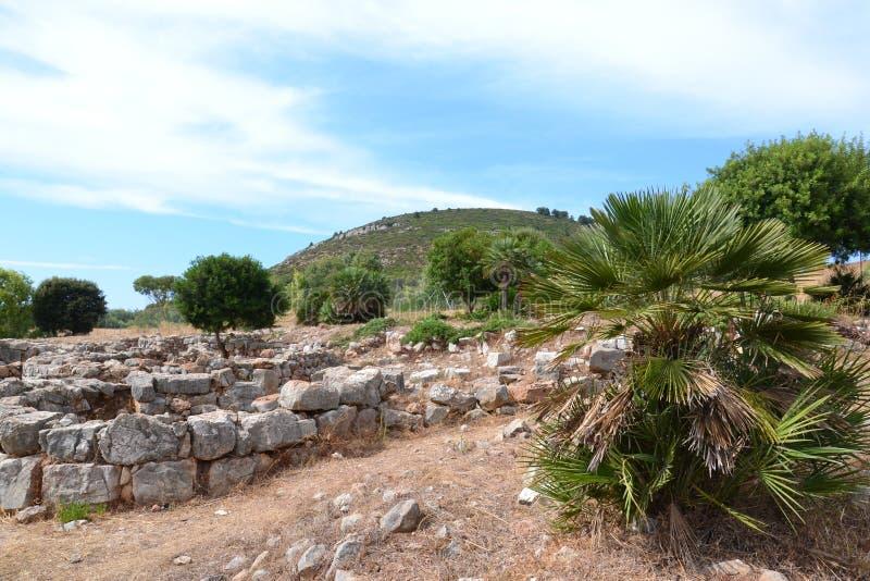Prähistorisches Dorf Palmavera, Sardinien lizenzfreies stockbild