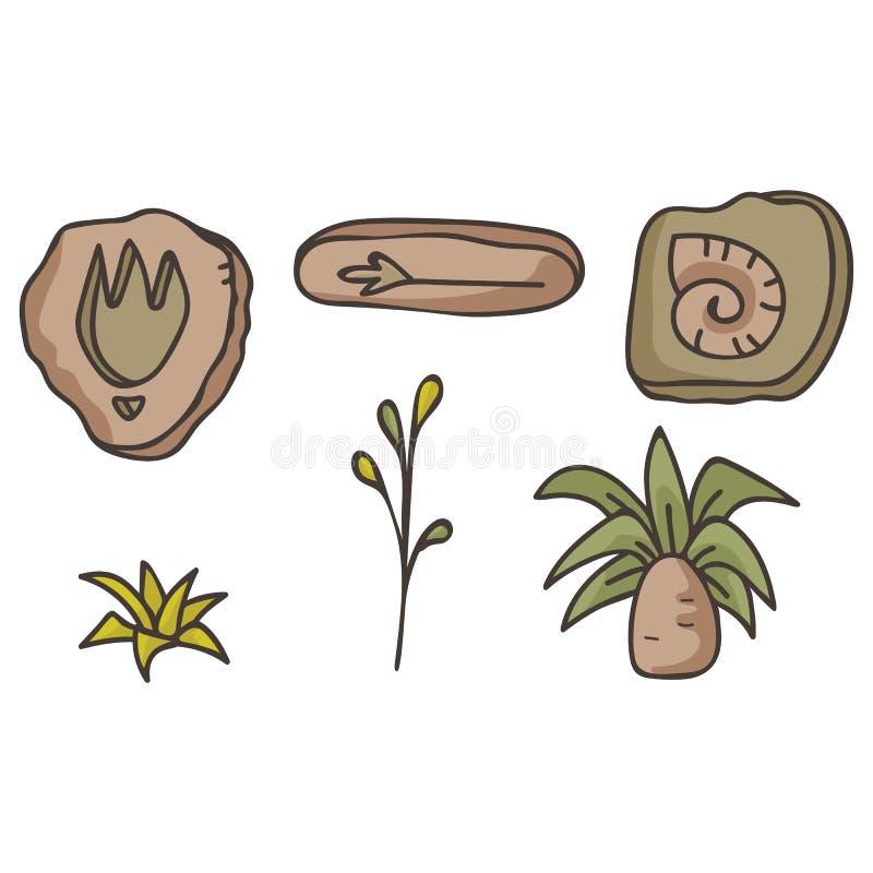 Prähistorisches Fossil und alte Betriebsvektor-Illustrationen vektor abbildung