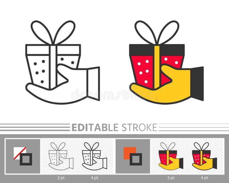 Präsentkarton geben an Hand Überraschungsgeschenklinie Ikone lizenzfreie abbildung