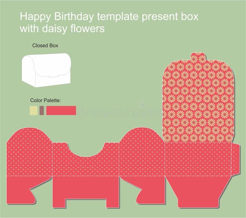 Präsentkarton mit alles- Gute zum Geburtstagaufkleber vektor abbildung