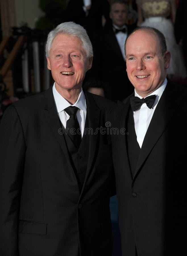 Präsident Bill Clinton u. Prinz Albert II von Monaco stockbild