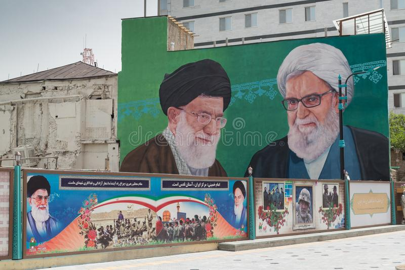 Präsident Sayyid Ali Hosseini Khamenei und Anschlagtafel Imam-Sayyid Ruhollah Musavis Khomeini lizenzfreie stockfotos