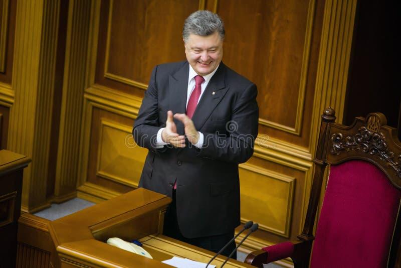 Präsident von Ukraine Petro Poroshenko nach dem Unterzeichnen des L stockfotografie