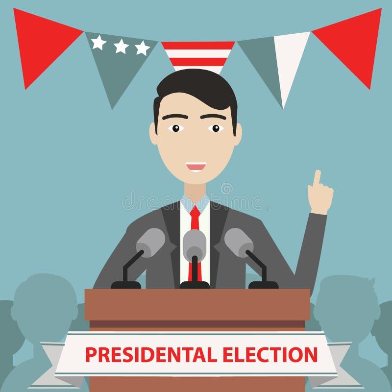 Präsidentschaftswahlzusammensetzung mit flachem Entwurf vektor abbildung