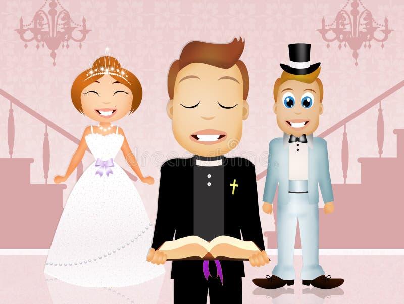 Präst och brud och brudgum vektor illustrationer