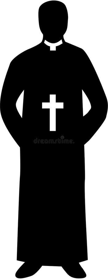 Präst Pastor Silhouette vektor illustrationer