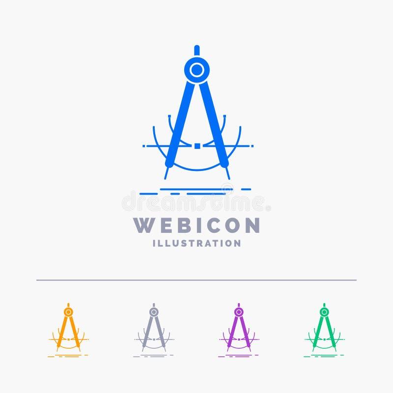 Präzision, accure, Geometrie, Kompass, Maß 5 Farbeglyph-Netz-Ikonen-Schablone lokalisiert auf Weiß Auch im corel abgehobenen Betr vektor abbildung