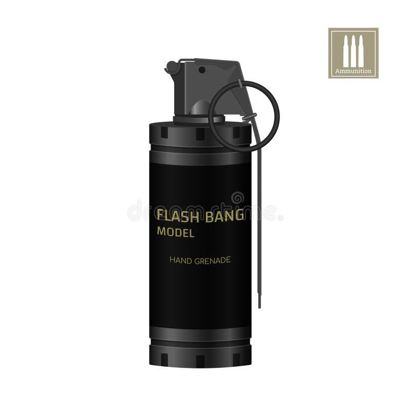 Prålig granat för hand av specialförband Detaljerad realistisk bild av anti--terrorist ammunitionar Polissprängmedel stock illustrationer