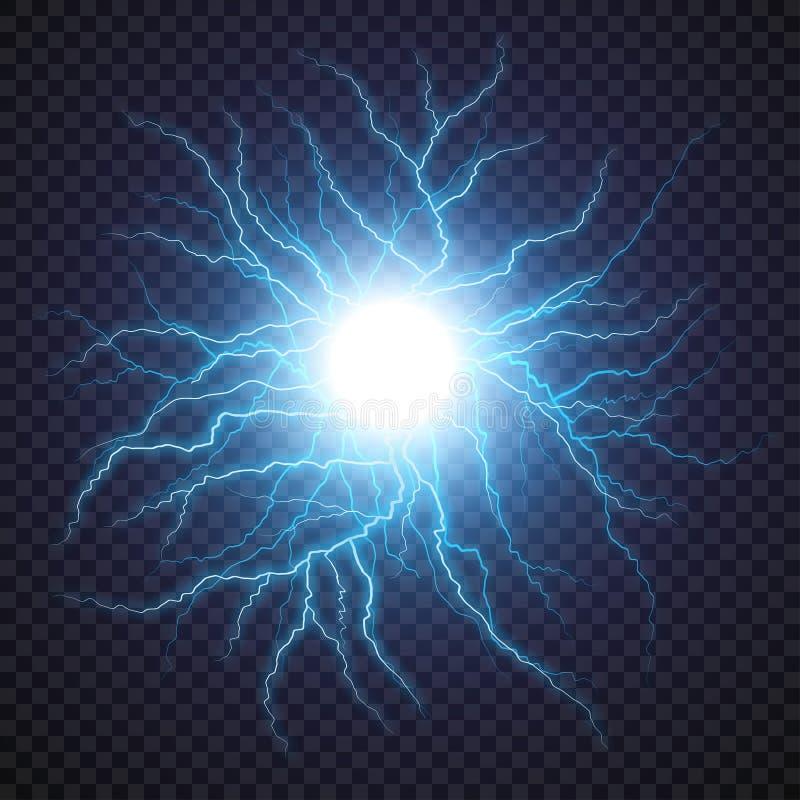 Prålig ljus åskagnista för blixt på genomskinlig bakgrund vektor illustrationer