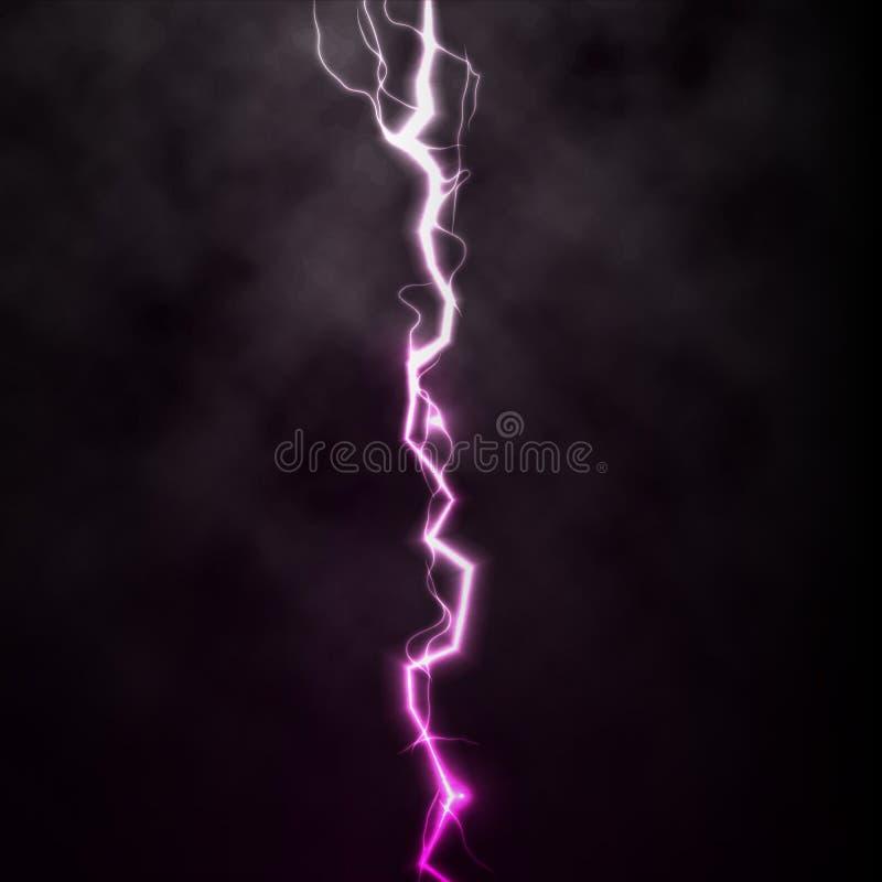 Prålig ljus åskagnista för blixt på svart bakgrund med moln Vektorgnistablixt eller elektricitetstryckvågstorm royaltyfri fotografi