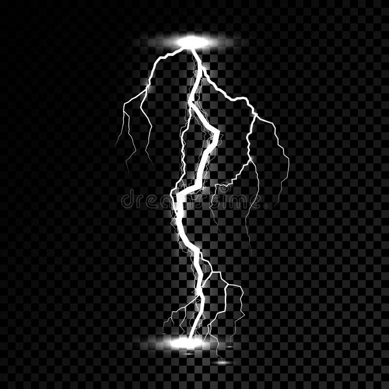 Prålig ljus åskagnista för blixt Vektorbultblixt eller elektricitetstryckvågstorm eller åskvigg på genomskinlig bakgrund stock illustrationer