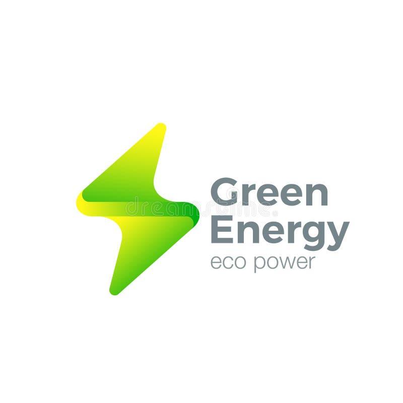 Pråligt Logo Thunderbolt symbol Grön energimakt royaltyfri illustrationer