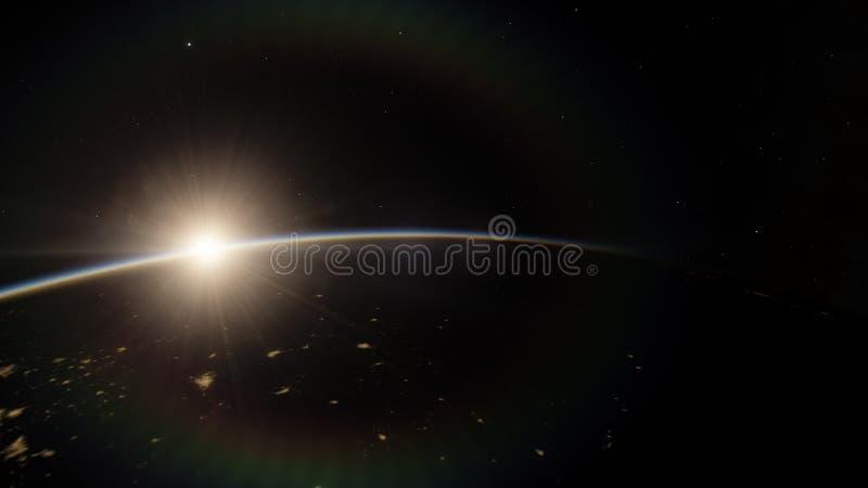 Près, basse planète bleue d'orbite terrestre Éléments de cette image meublés par la NASA images libres de droits
