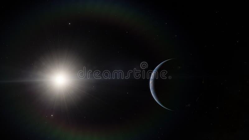 Près, basse planète bleue d'orbite terrestre Éléments de cette image meublés par la NASA photographie stock