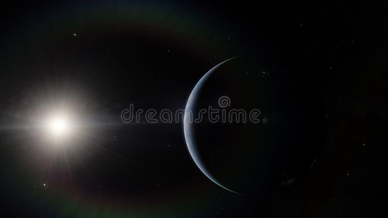 Près, basse planète bleue d'orbite terrestre Éléments de cette image meublés par la NASA photos stock