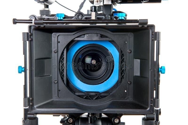Près de la lentille d'une caméra vidéo images libres de droits