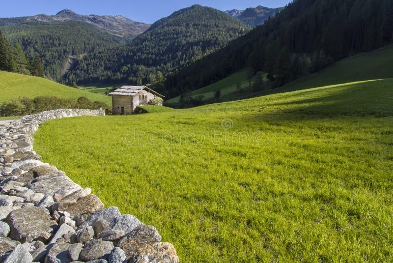 Pré alpestre scénique, hutte montagnes photos stock