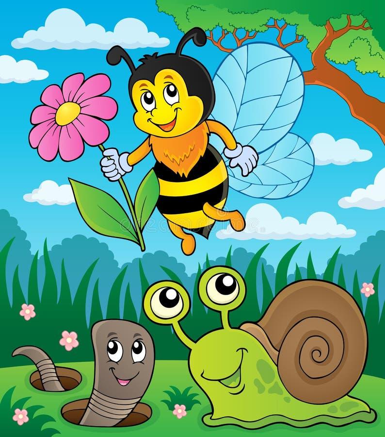 Pré avec les petits animaux et insecte 2 illustration stock