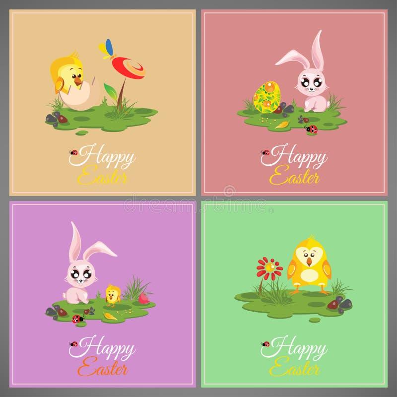 Pré coloré en pastel heureux de cartes en liasse de Pâques avec le lapin, poulet, nouveau-né, papillon, oeufs, fleur, coccinelle illustration de vecteur