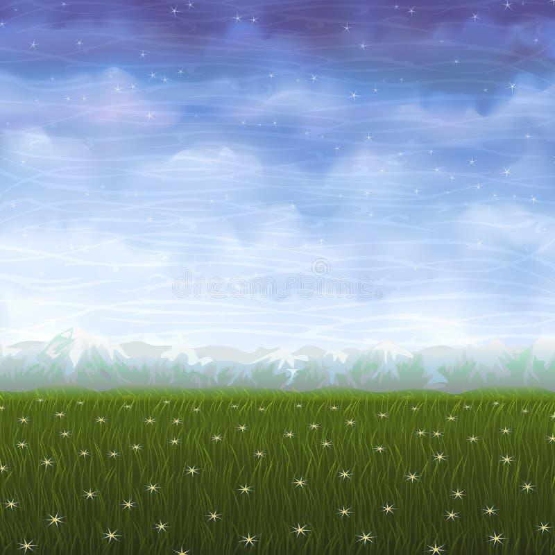 Pré d'été couvert de fleurs blanches d'étoile illustration de vecteur