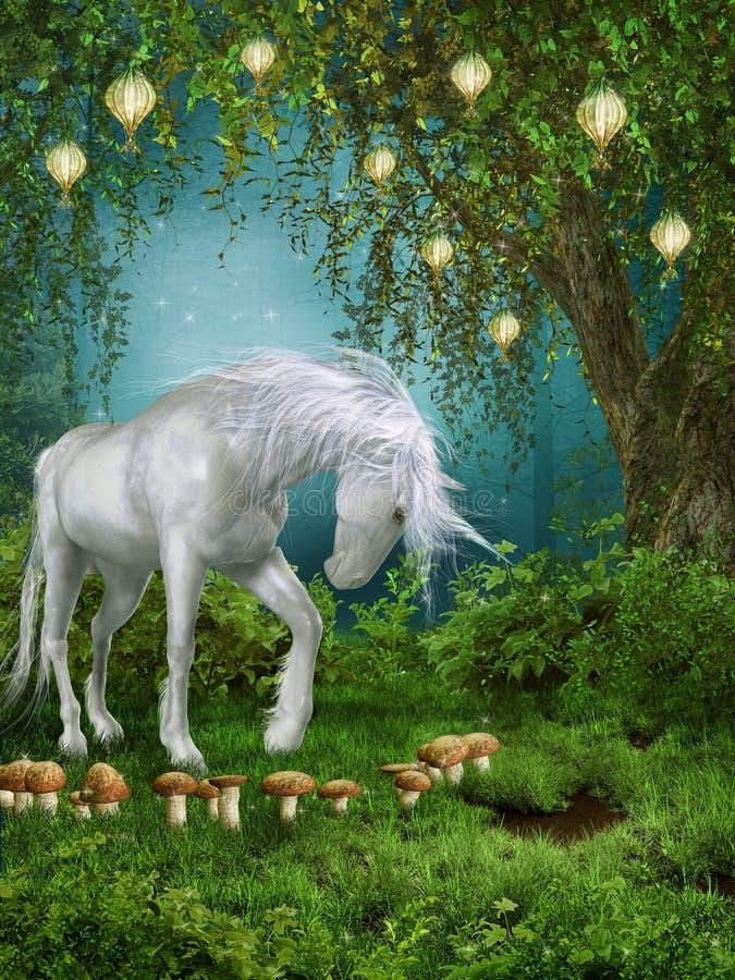Pré de conte de fées avec une licorne illustration stock