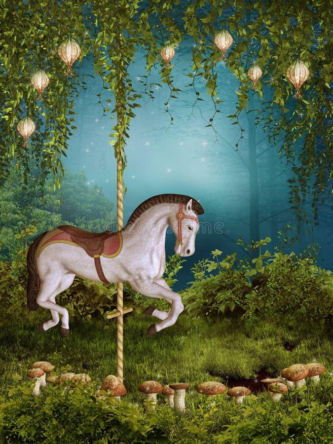 Pré enchanté avec un cheval illustration libre de droits