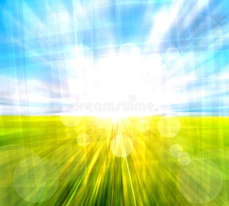 Pré et ciel brouillés par abstrait illustration libre de droits