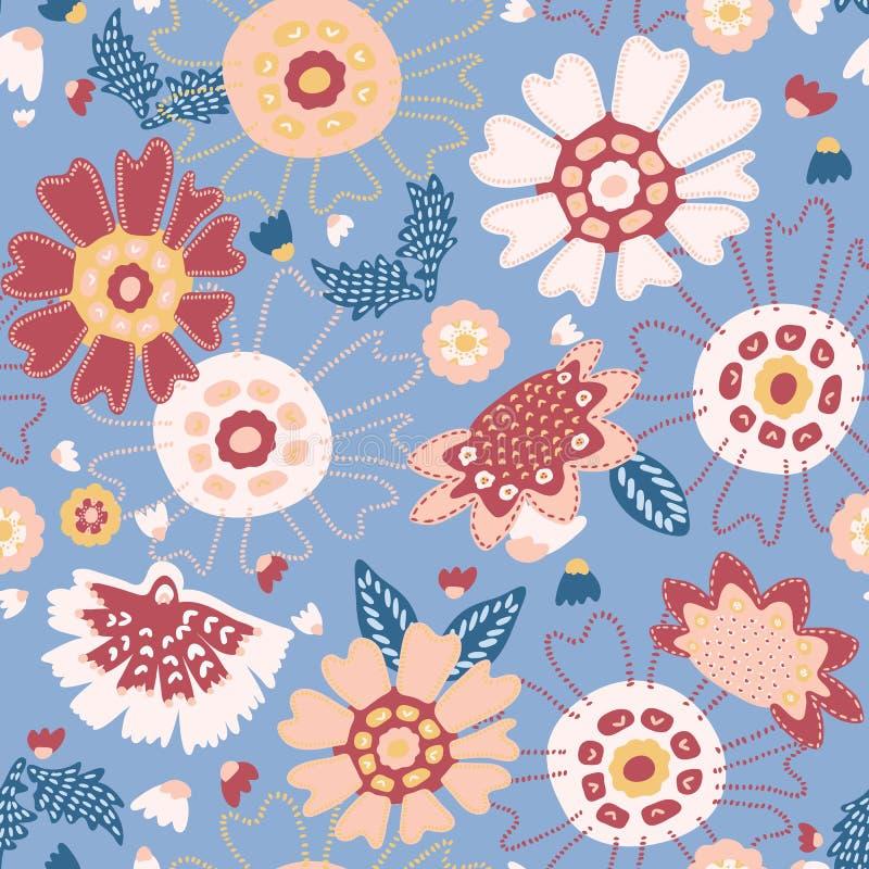 Pré floral de jardin de ressort tiré par la main Modèle de répétition sans couture de vecteur illustration libre de droits
