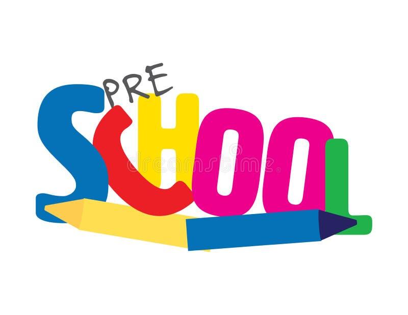 Pré logo d'école avec des crayons photo stock