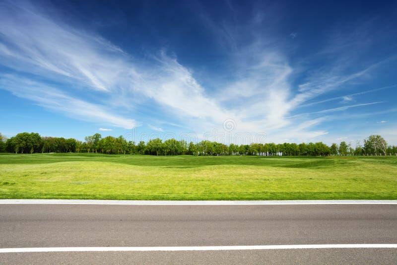 Pré vert avec les arbres et la route goudronnée images libres de droits