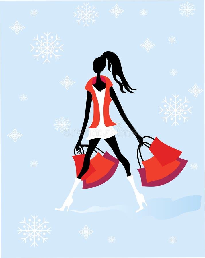 Précipitation d'achats de Noël illustration de vecteur