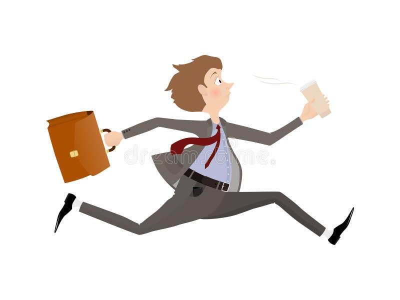 Précipitation des employés au bureau au début du jour ouvrable Homme d'affaires tard pour un rendez-vous illustration stock