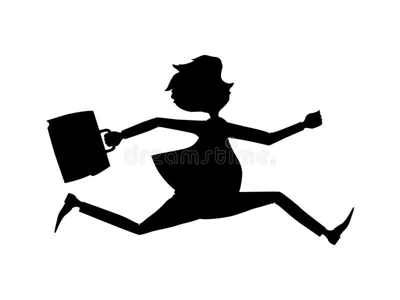 Précipitation des employés pour un rendez-vous Silhouette d'homme d'affaires illustration libre de droits