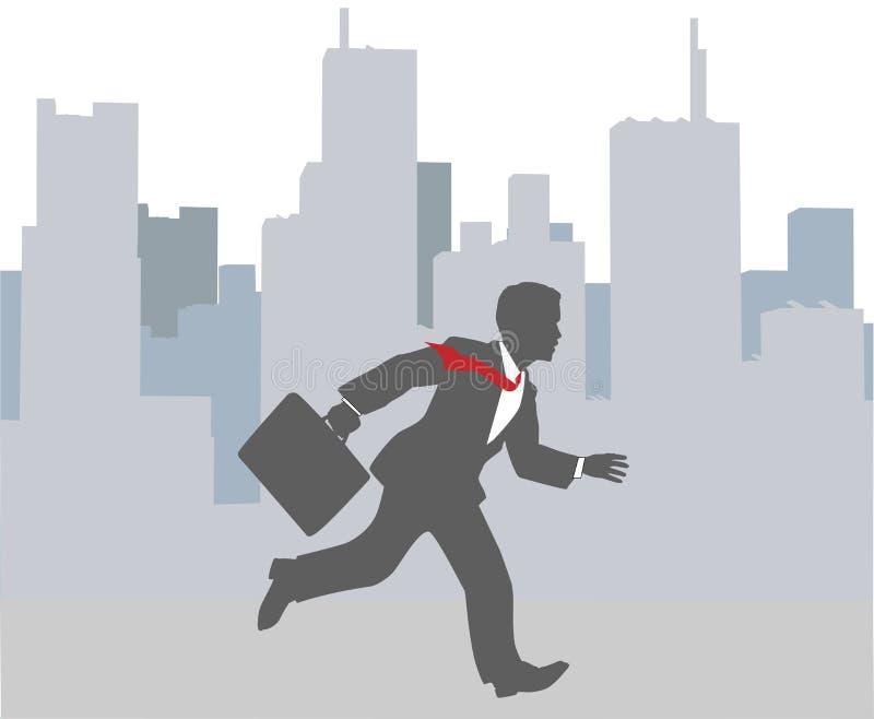 Précipitation occupée de ville de hâte d'homme d'affaires illustration libre de droits