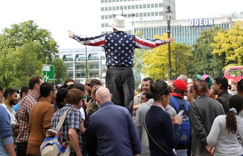 Prédicateur américain aux haut-parleurs Londres faisante le coin photographie stock libre de droits