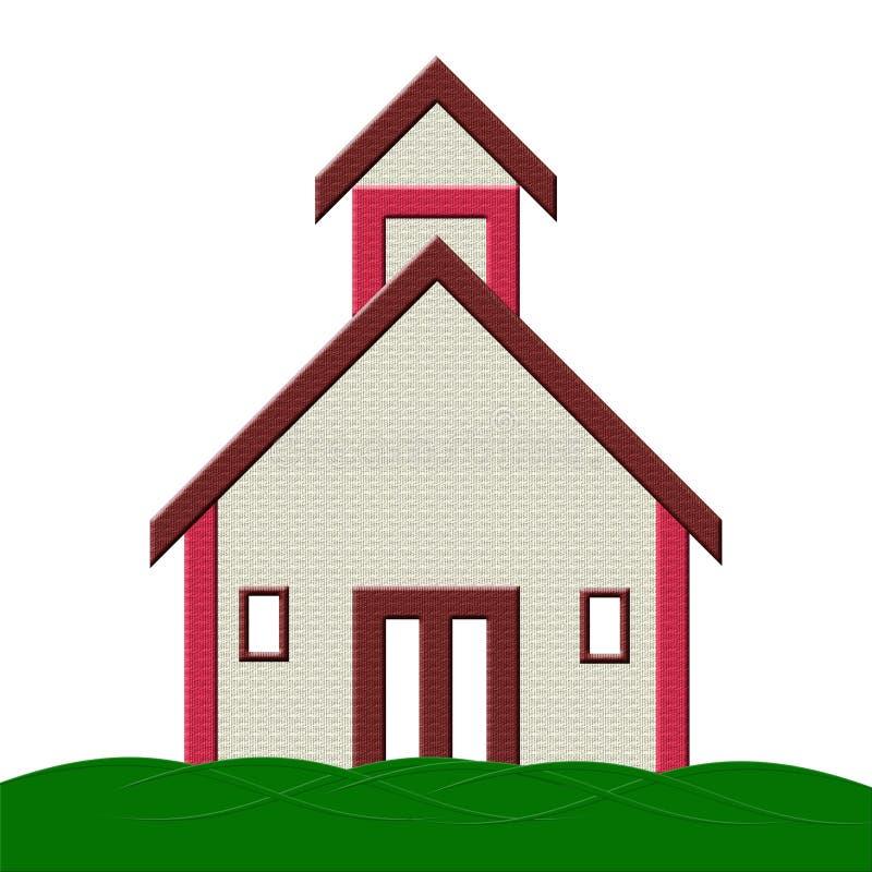 Prédio da escola com ilustração da grama ilustração royalty free