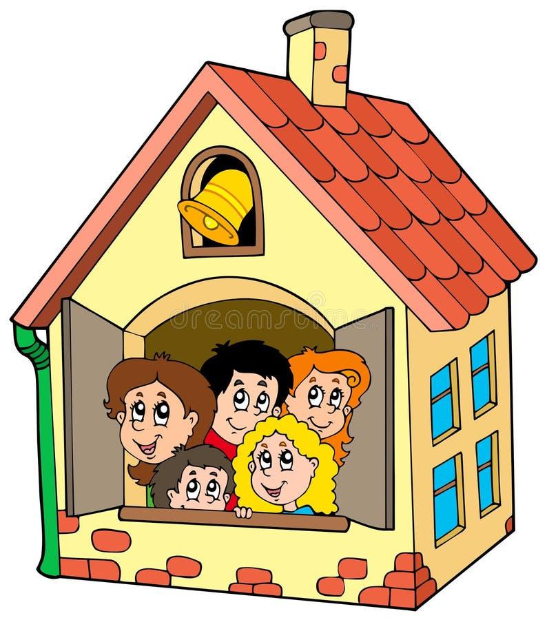 Prédio da escola com miúdos ilustração stock