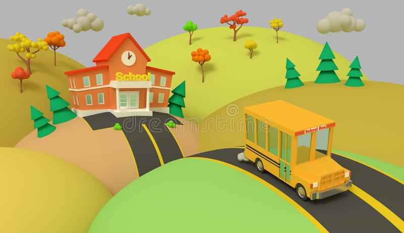 Prédio da escola e ônibus amarelo com paisagem bonita do verão verde De volta ? escola Ilustração volumétrico do estilo 3d rendem ilustração royalty free