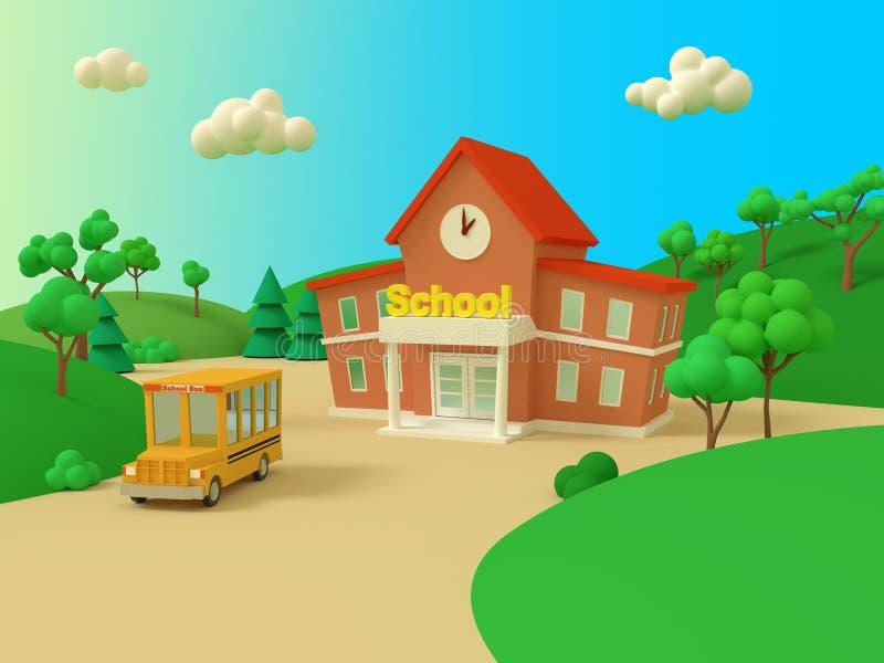 Prédio da escola e ônibus amarelo com paisagem bonita do verão verde De volta ? escola Ilustração volumétrico do estilo 3d rendem ilustração do vetor