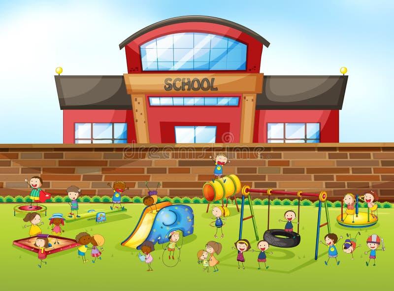 Prédio da escola e campo de jogos ilustração stock