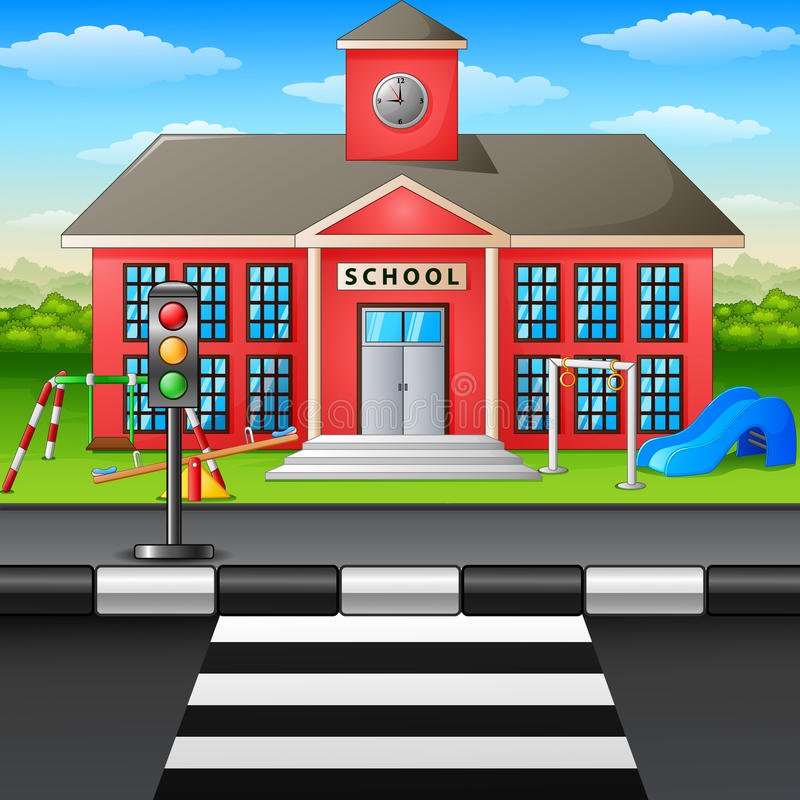 Prédio da escola e campo de jogos da cena ilustração stock