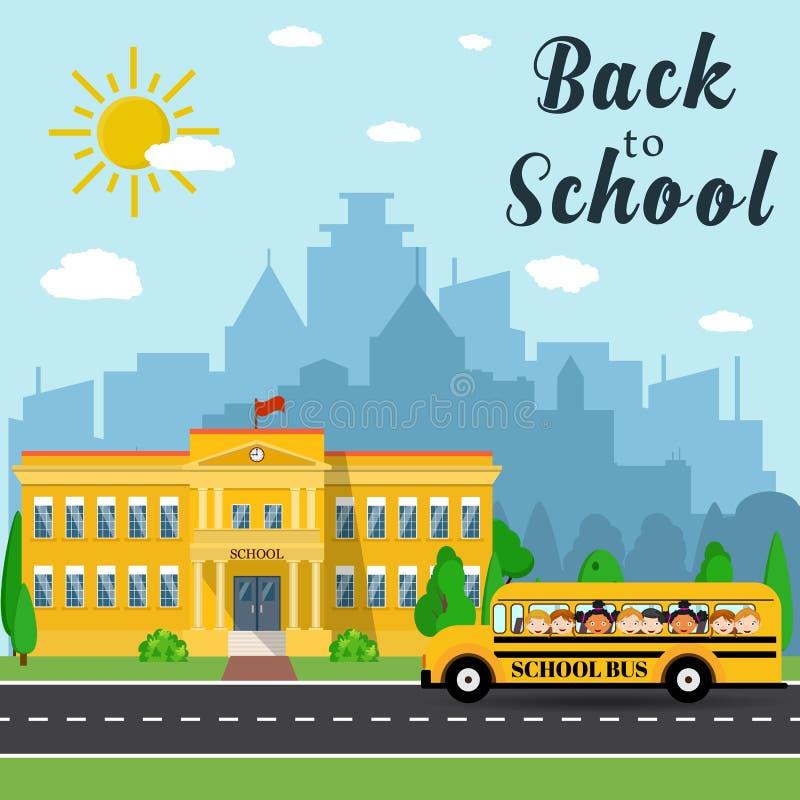 Prédio da escola e ônibus ilustração do vetor