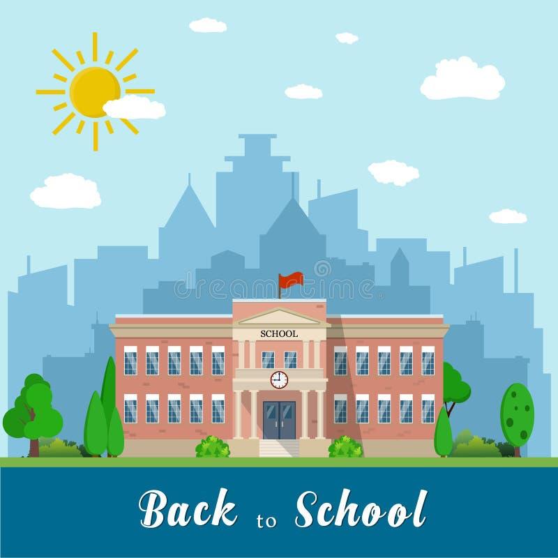 Prédio da escola e ônibus ilustração royalty free