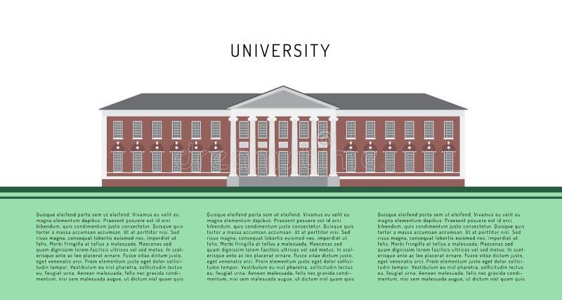 Prédio da escola no estilo liso na construção verde da universidade do fundo em um vetor liso do estilo ilustração royalty free