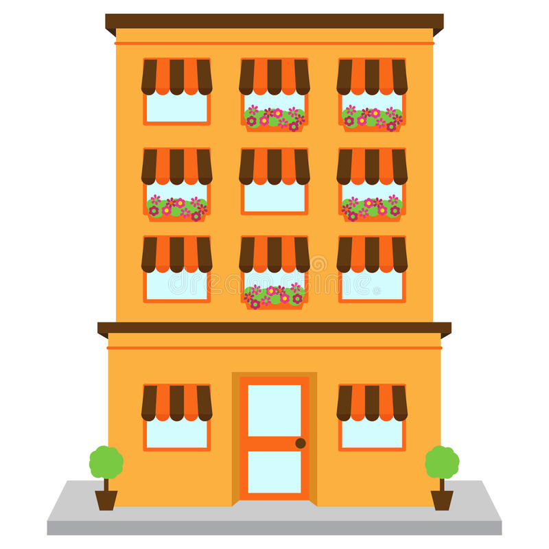 Prédio de apartamentos do vetor na rua ilustração royalty free